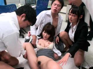 Sexy office bitch Yui Hatano pussy pounded by co workers