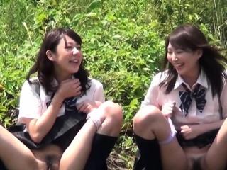 Japanese hos pee in river