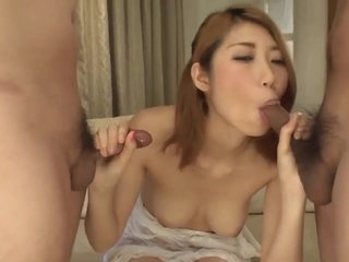 Kanako Kimura Amazing Sex With Blowjob In Threesome - More