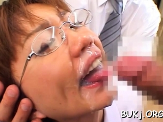 Resigned japanese hottie likes a nice bukkake play on cam