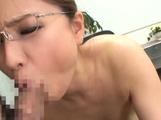 Sexy oriental chick goes for a large dick in the office