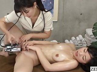 Japanese lesbian massage – naked client gets fingering treatment