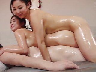 JAV voluptuous soapland FFM threesome with rimjob Subtitles