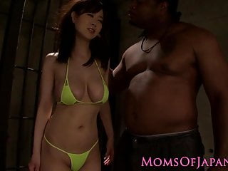 Japanese milf in mmf interracial threesome